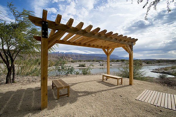 Waiting area of the new Customs and Border Patrol crossing and point of entry on the U.S. side in Big Bend National Park near Rio Grande Village.