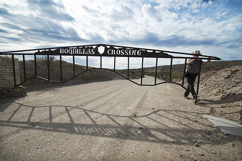 A park ranger closes the gate to the Boquillas Crossing in Big Bend National Park on December 21, 2012. © Copyright 2013 Robert W. Hart