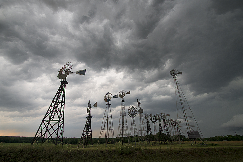 Montague, Texas was under a tornado warning when I arrived shortly before 7 p.m., today, May 20. This array of windmills is owned by Custom Water Company LLC. ©2013 Robert W. Hart