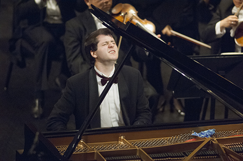 Nikita Mndoyants of Russia, performs Prokofiev's Piano Concerto No. 2 in G Minor, op. 16 during the Fourteenth Van Cliburn International Piano Competition in Fort Worth, Texas on June 6, 2013. ©2013 Robert W. Hart