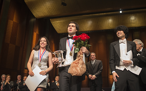 Van Cliburn International Piano Competition winners from left silver Award Winner Beatrice Rana, Gold Medalist Vadym Kholodenko and Crystal Award winner Sean Chen at the Fourteenth Van Cliburn International Piano Competition in Fort Worth, Texas on June 9, 2013. ©2013 Robert W. Hart