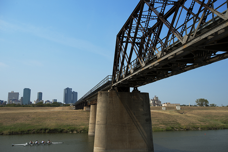 Railway bridge over the Trinity River on 9/14/2013. The Trinity Railway Express, the commuter line between Dallas and Fort Worth runs on this bridge.