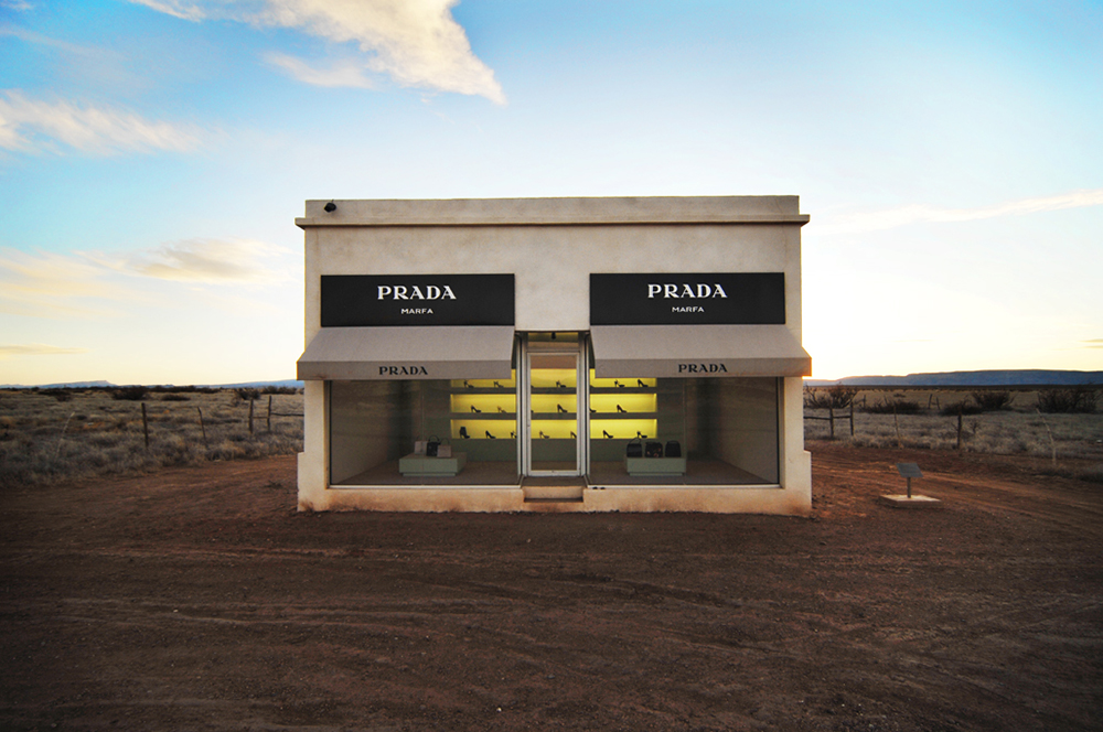 The Prada Marfa art installation near Valentine, Texas.