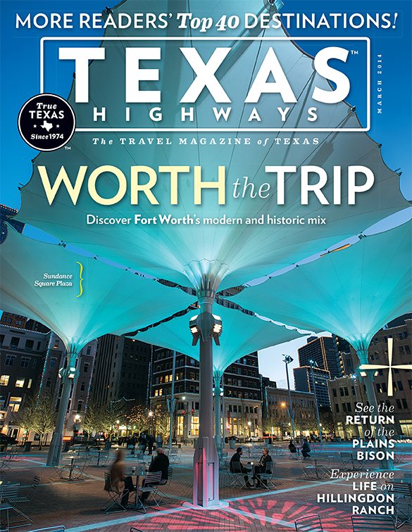Cover photo of Texas Highways magazine March 2014 issue by Fort Worth-based photojournalist Robert W. Hart.