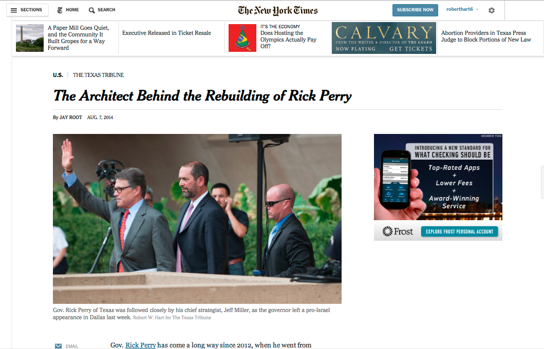 Writer Jay Root's  TexasTribune.org/NYT story on Jeff Miller, the man behind Texas Gov. Rick Perry's  new image.