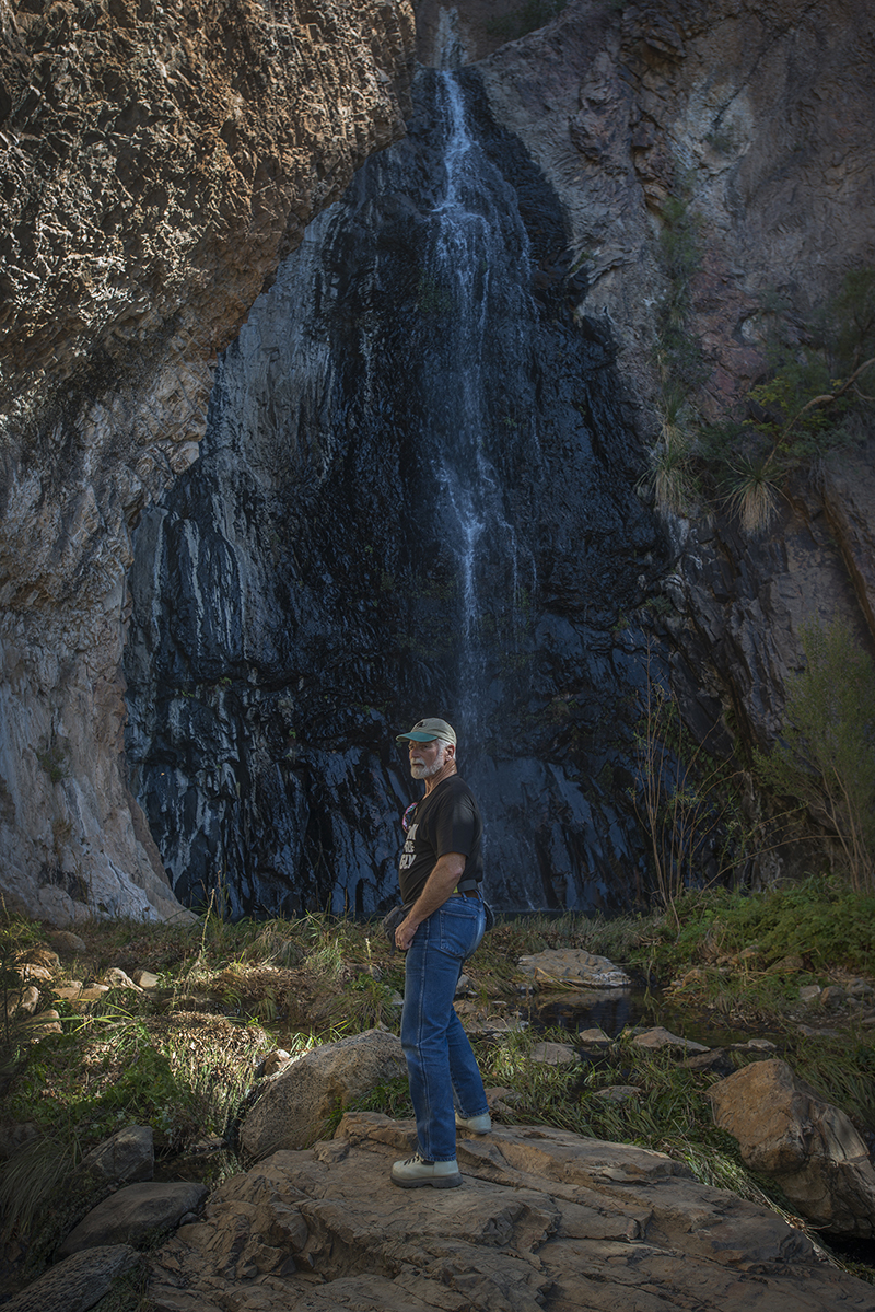 Geophysicist Cedric Snyder at Cattail Falls in Big Bend National Park on November 16, 2014.