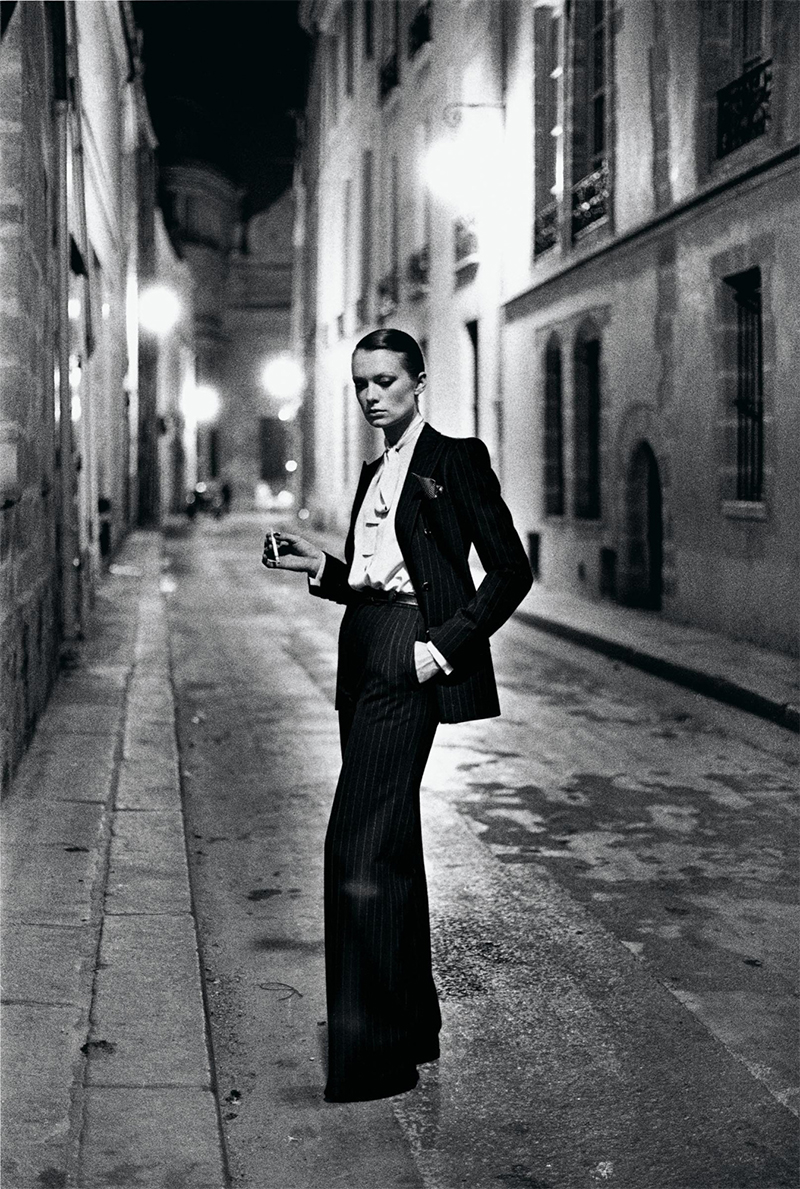 """Le Smoking"" shot by Helmut Newton in 1975 for Vogue magazine."